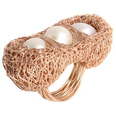 Artist Statement Three Pearl 14 k Rose Gold Filled Woven Cocktail Ring