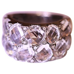 White Topaz and Diamond Band Ring 14 Karat White Gold Rhodium-Plated