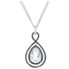 White Topaz and Diamond Halo Pendant Necklace, 18 Karat Gold 10.12 Carat