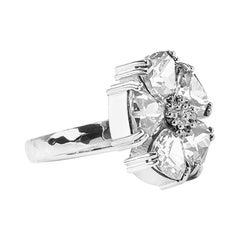 White Topaz Blossom Large Stone Ring