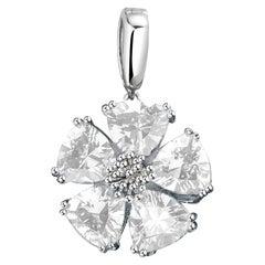 White Topaz Blossom Stone Pendant