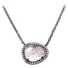 White Topaz Diamond Halo Necklace, Black Finish, Drop Pendant, Organic Shape