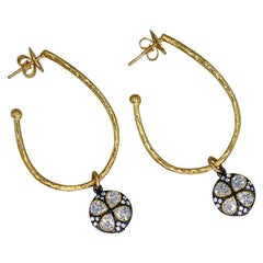 White Topaz Flower Charm Hammered 18 Karat Gold Stud Hoop Earrings