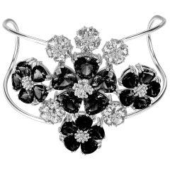 White Topaz, Gray and Black Spinel Blossom Renaissance Cuff