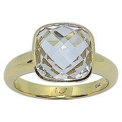 White Topaz Ring Set in 18 Karat Gold Settings