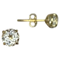White Topaz Round Diamond Cut 1.15 Carat 9 Karat Yellow Gold Earring Studs