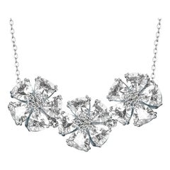 White Topaz Triple Blossom Gentile Necklace