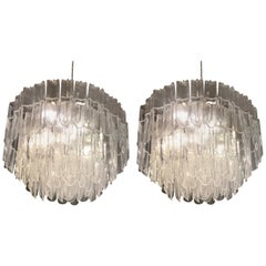 White Transparent Glass Chandeliers Attributed to Mazzega, circa 1970