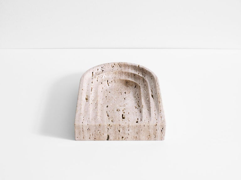 Modern White Travertine Stone Dish by Henry Wilson For Sale