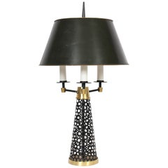 Tony Paul Style Pierced Black Cone, White Candlestick & Brass Table Lamp