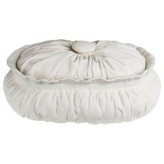 White Trompe L'Oeil Faux Fabric Unglazed Ceramic Plaster Dish or Taureen w/ Lid