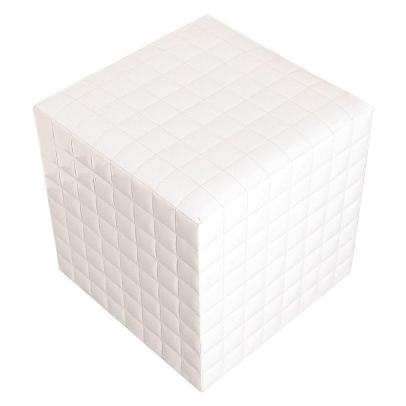 White Tufted Cube Ottoman
