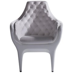 White Tufted Leather and Lacquer Armchair by Bd Barcelona