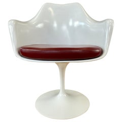White Tulip Armchair w/Red Leather Eero Saarinen for Knoll A