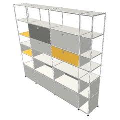 White USM Haller Shelf with Chrome Frame