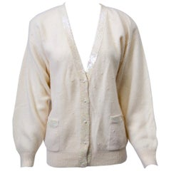 White V-neck Cardigan with Sequins and Pearls