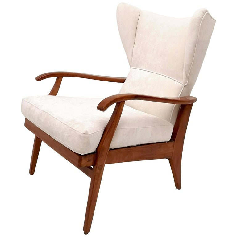 White Velvet Reclining Lounge Chair with a Cherry Frame, Italy, 1950s For Sale