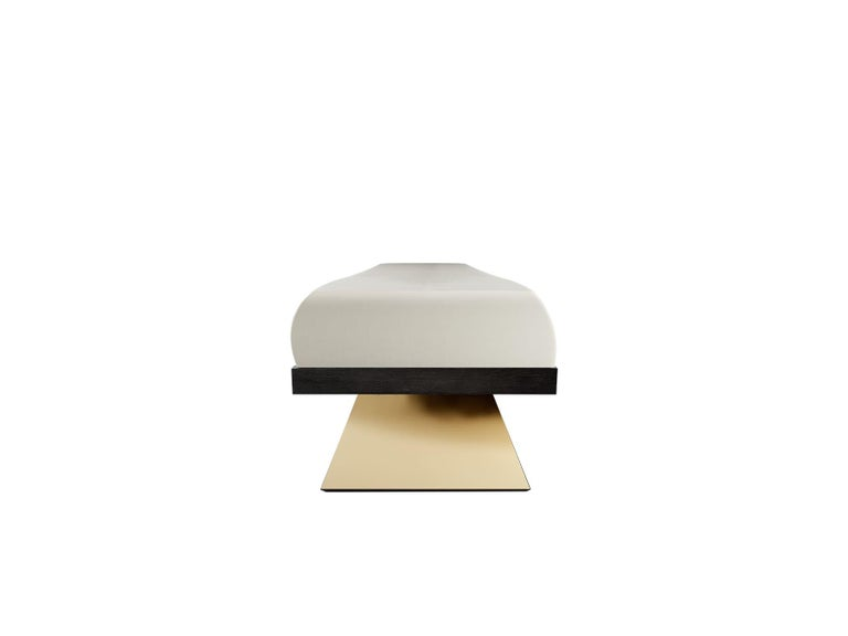Modern White Velvet Upholstered Bench with Black Wenge Legs Gold Stainless Steel  Moa Bench Moa Bench is an accent bench. Its base and seat express a solemn geometry that accent a modern identity in any contemporary interior design