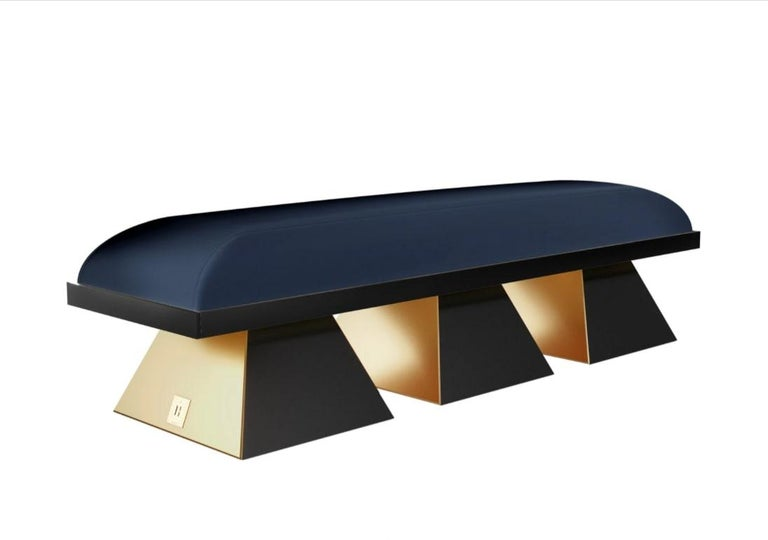 Portuguese Modern White Velvet Upholstered Bench with Black Wenge Legs Gold Stainless Steel For Sale