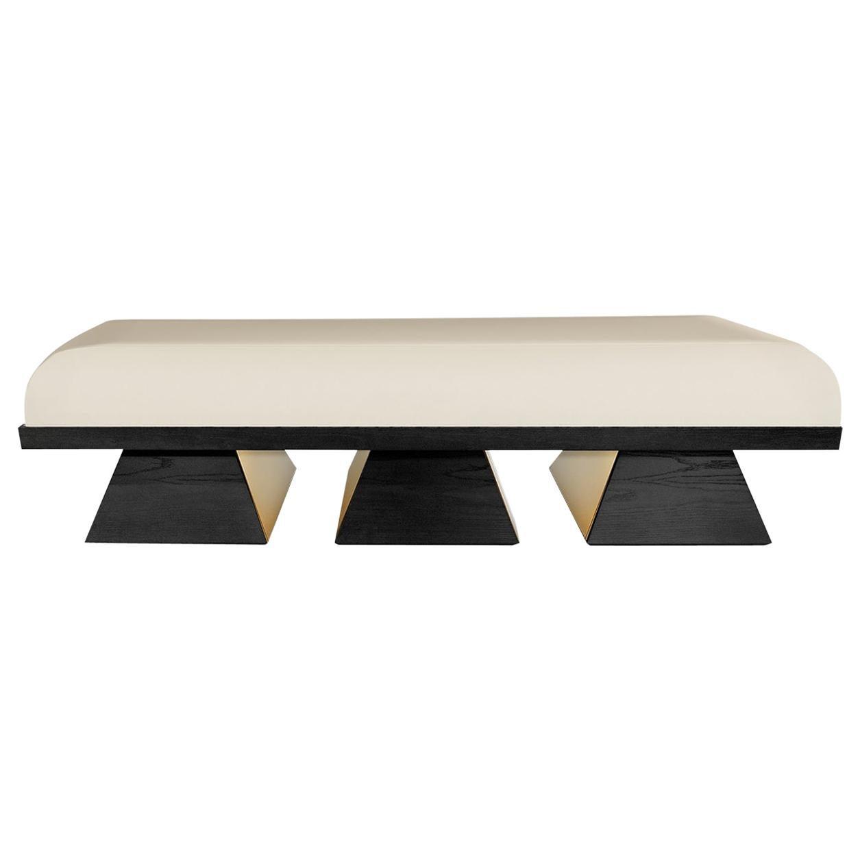 Modern White Velvet Upholstered Bench with Black Wenge Legs Gold Stainless Steel