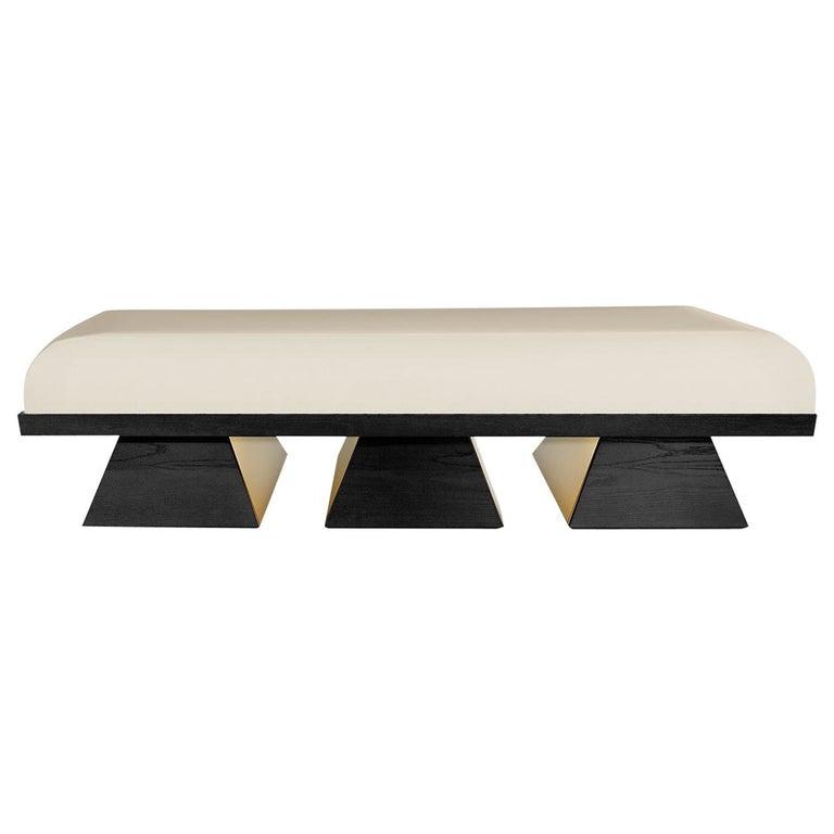 Modern White Velvet Upholstered Bench with Black Wenge Legs Gold Stainless Steel For Sale