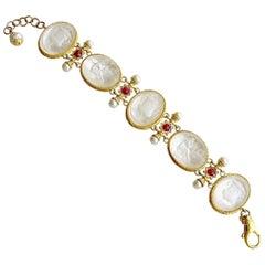 White Venetian Glass Intaglios Pearls Rubies Mop Bracelet, Varenna Bracelet