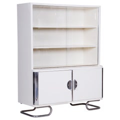 White Vintage Chrome Bauhaus Bookcase Manufactured by Vichr and Spol, 1930s
