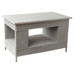 White Vintage Wicker Library Table