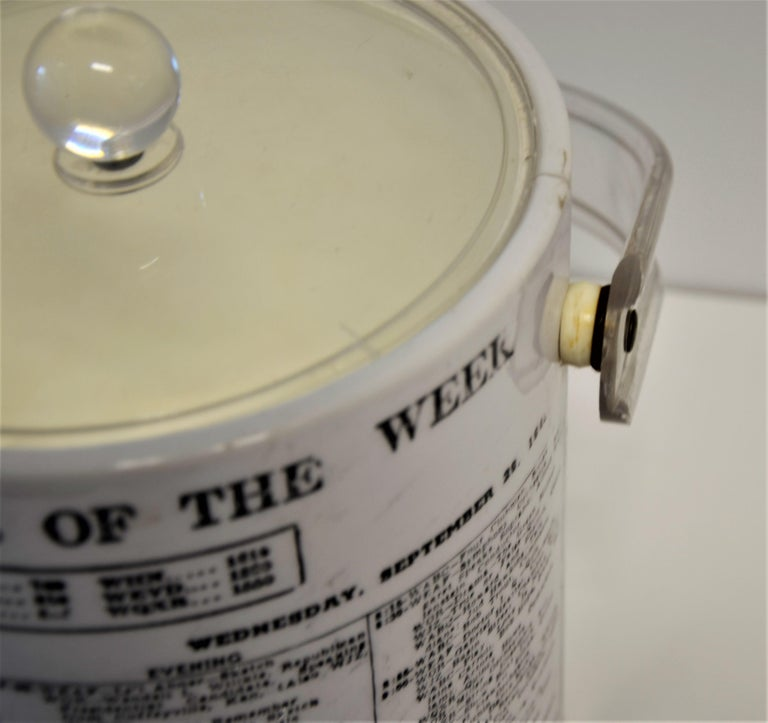 White Vinyl Ice Bucket with Lucite Lid & Tongs with Black Newspaper Print Theme For Sale 4