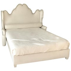 White Vinyl Queen Size Decorative Headboard and Platform Bed, 21st Century