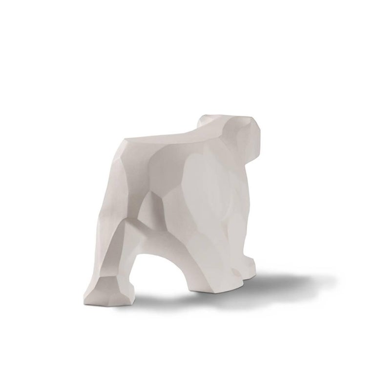 Post-Modern White Walking Bear Side or End Table Contemporary Handmade Hydrostone Sculptural For Sale
