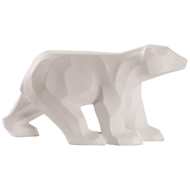 White Walking Bear Side or End Table Contemporary Handmade Hydrostone Sculptural For Sale