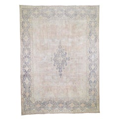 """White Wash Kerman Sheared Low Hand-Knotted Pure Wool Oriental Rug, 9'8"""" x 13'2"""""""