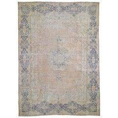 White Wash Kerman Sheared Low Hand Knotted Pure Wool Oriental Rug