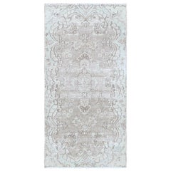 White Wash Old Persian Kerman Cropped Thin Hand Knotted Clean Natural Wool Rug