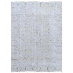 White Wash Old Persian Kerman Worn Down Clean Organic Wool Hand Knotted Rug