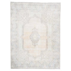 White Wash Vintage Kerman Sheared Low Hand Knotted Oriental Rug