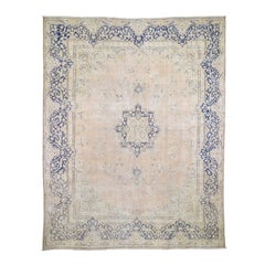 "White Wash Zero Pile Kerman Pure Wool hand-knotted Oriental Rug , 10'0"" x 12'7"""
