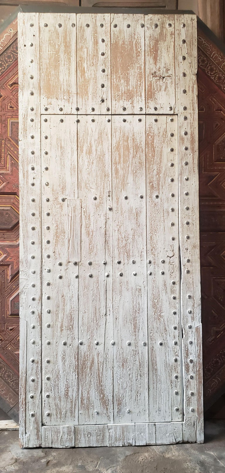 Early 20th Century White Washed Moroccan Wooden Door, MD42 For Sale