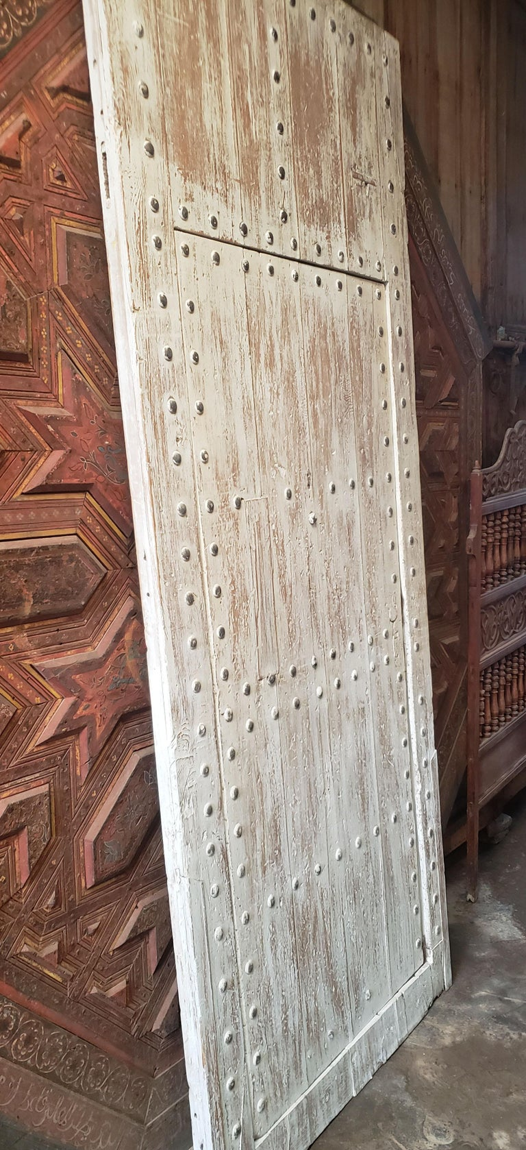 White Washed Moroccan Wooden Door, MD42 For Sale 1