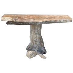 White Washed Teak Root Console Table