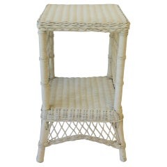 White Wicker End Table or Nightstand Table, circa 1990s