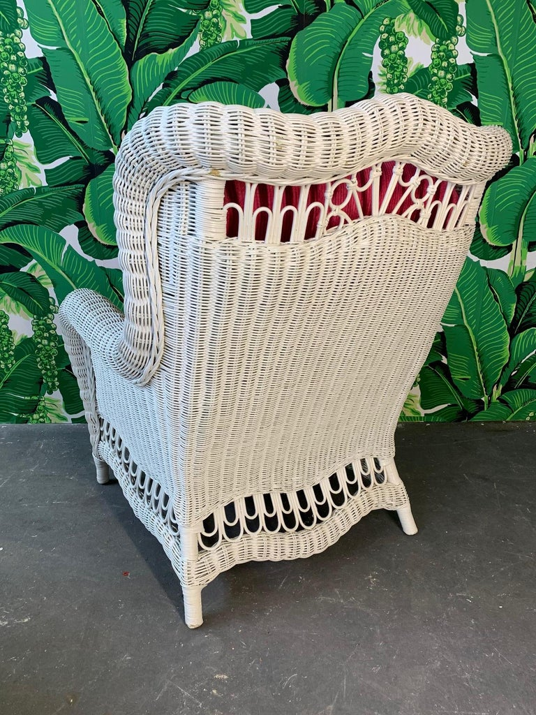 Astonishing White Wicker Wingback Chair And Ottoman Inzonedesignstudio Interior Chair Design Inzonedesignstudiocom