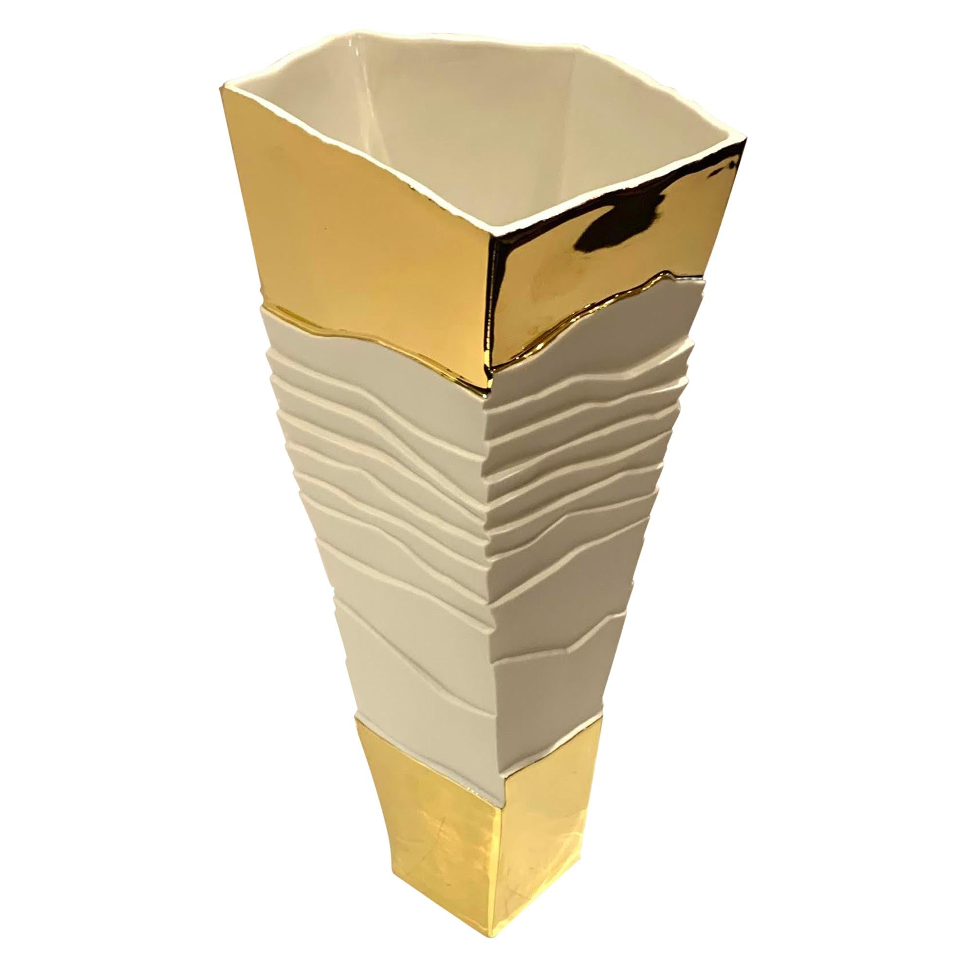 White with 22K Gold Tall Cubist Design Porcelain Vase, Italy, Contemporary
