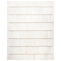 White with Brown Stripes Contemporary Fur Rug