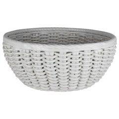 White Woven Ceramic Decorative Bowl, Italy