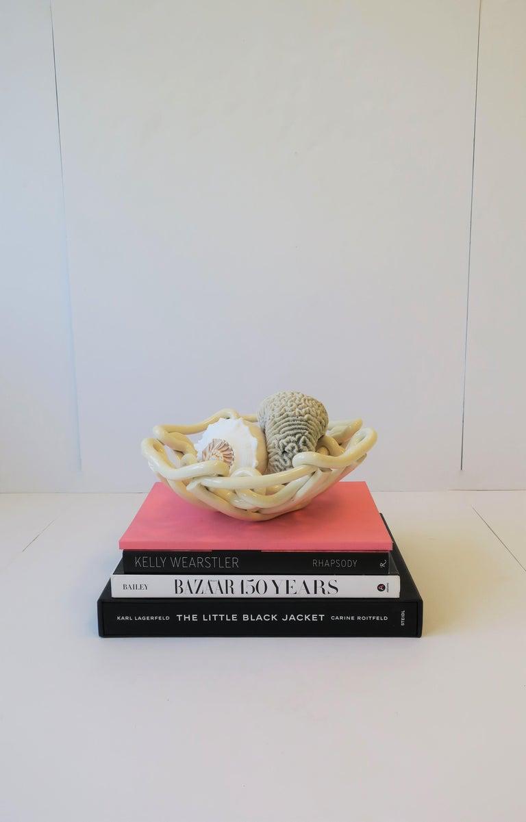 White Woven Pottery Ceramic Centerpiece Bowl For Sale 4