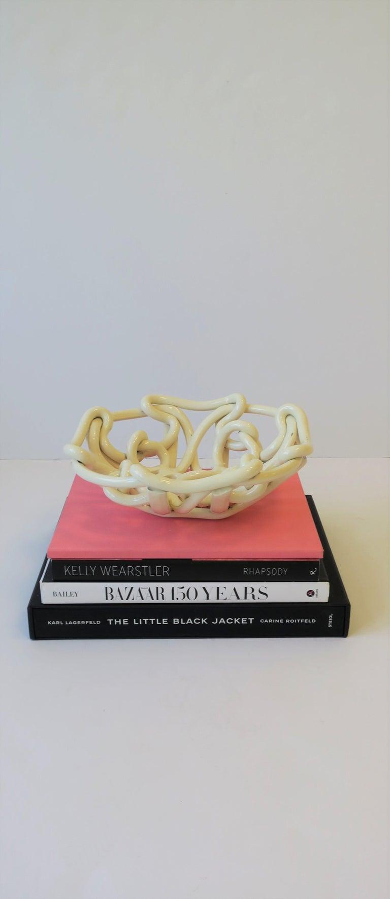White Woven Pottery Ceramic Centerpiece Bowl For Sale 5