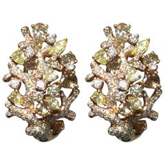 White, Yellow, and Brown Diamond Cluster Earrings in 18 Karat Rose Gold