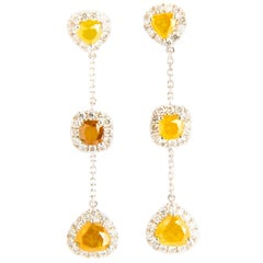 White, Yellow and Brown Diamonds 4.81 Carat in 18 Karat Gold Dangle Earrings